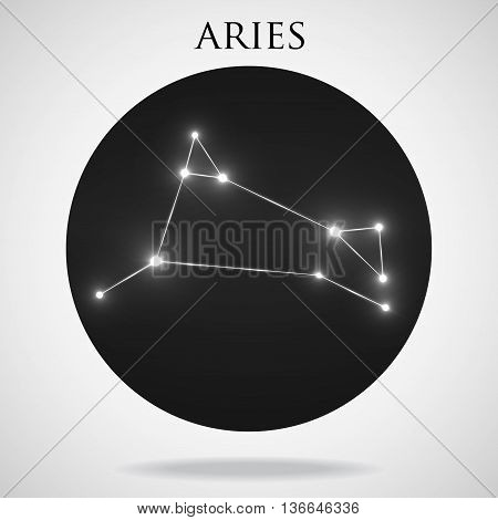 Constellation aries zodiac sign isolated on white background
