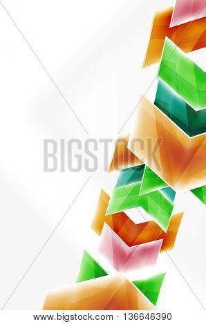 Glass glossy arrow motion background. web brochure, internet flyer, wallpaper or cover poster design.