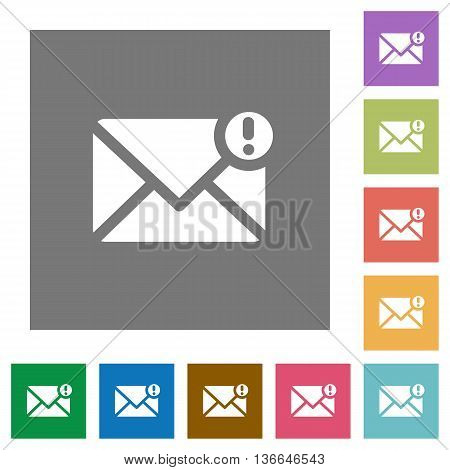 Message important flat icon set on color square background.