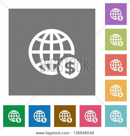 Online dollar payment flat icon set on color square background.