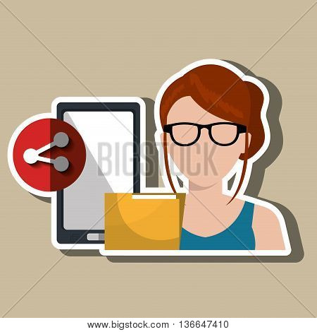 smartphone user sharing files isolated icon design, vector illustration  graphic
