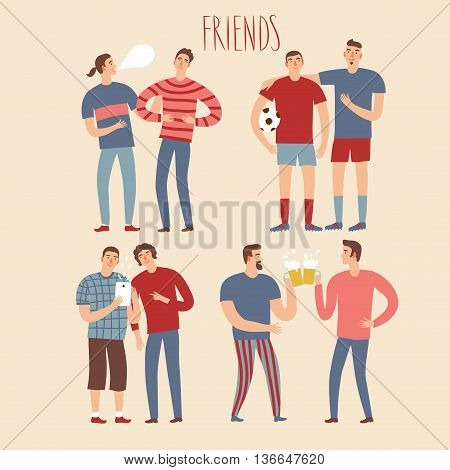 Set of cartoon male friends in various lifestyles. Characters illustrations for your design.