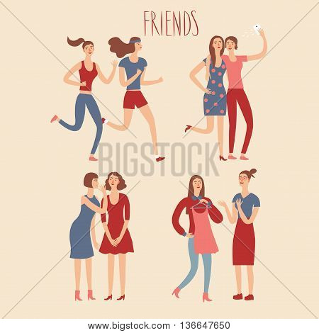 Set of cartoon female friends in various lifestyles. Characters illustrations for your design.