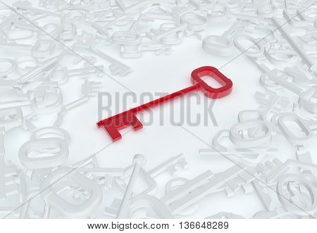Keys abstract red unique model white pile 3d illustration