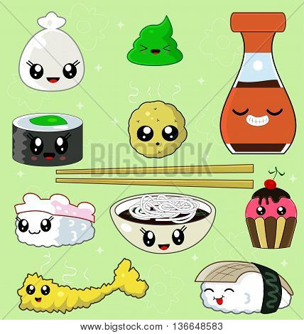 Sushi Collection with soy sauce, shrimp tempura, potatoes, noodles, chopsticks, anago sushi, tako sushi, kappa sushi, wasabi. Japanese cuisine. Vector