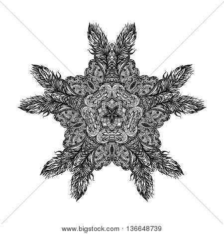 Patterned decorative element form star on white background