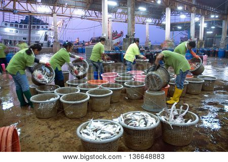 SAMUTSAKORN, THAILAND-SEPTEMBER 17, 2009: Talaythai seafood market, Trading center of fish and seafood products processing integrated in the country on September 17, 2009 in Samutsakorn, Thailand.