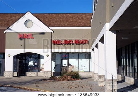 NAPERVILLE, ILLINOIS / UNITED STATES - NOVEMBER 3, 2015: One may have one's hair cut at Park Jun's Beauty Lab in a Naperville strip mall.
