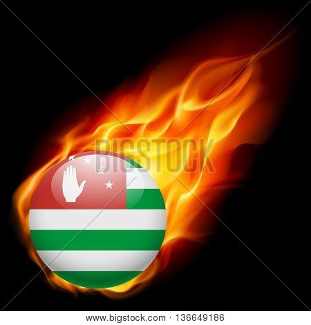A round badge in the colours of Abkhazia flag burning in flame