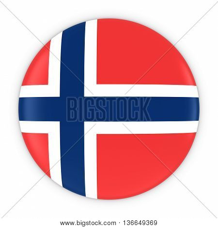 Norwegian Flag Button - Flag Of Norway Badge 3D Illustration