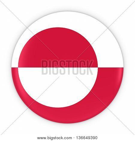 Greenlandic Flag Button - Flag Of Greenland Badge 3D Illustration