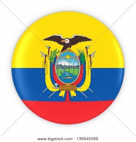 Ecuadorian Flag Button - Flag Of Ecuador Badge 3D Illustration