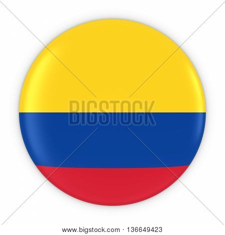 Colombian Flag Button - Flag Of Colombia Badge 3D Illustration