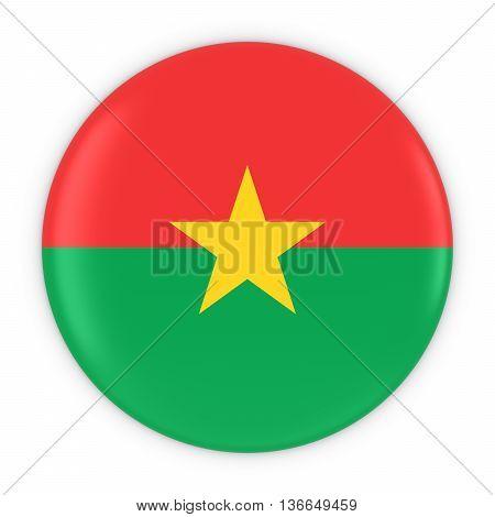 Burkinabe Flag Button - Flag Of Burkina Faso Badge 3D Illustration
