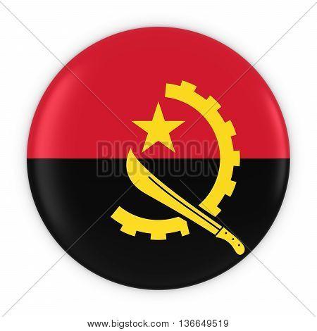 Angolan Flag Button - Flag Of Angola Badge 3D Illustration