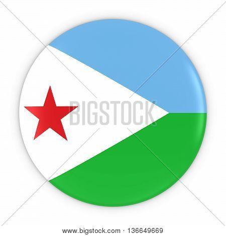 Djiboutian Flag Button - Flag Of Djibouti Badge 3D Illustration