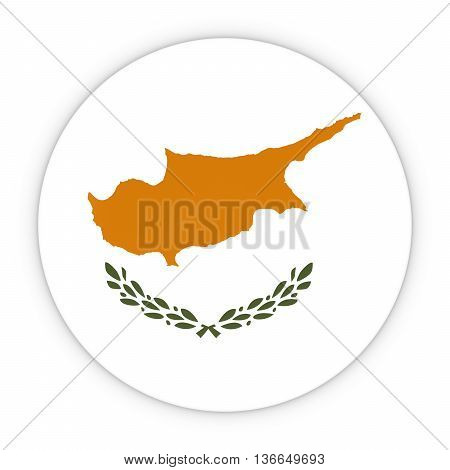 Cypriot Flag Button - Flag Of Cyprus Badge 3D Illustration