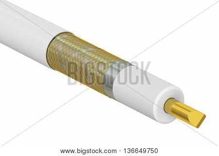 Coaxial cable cutaway 3D rendering isolated on white background