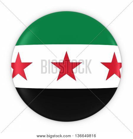Syrian Opposition Flag Button - Flag Of Syria Badge 3D Illustration