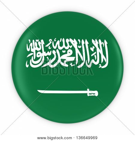 Saudi Arabian Flag Button - Flag Of Saudi Arabia Badge 3D Illustration