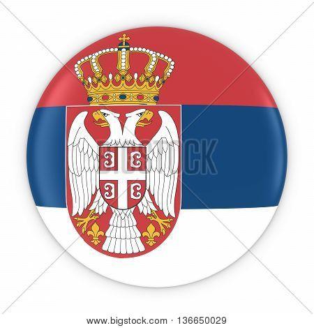 Serbian Flag Button - Flag Of Serbia Badge 3D Illustration