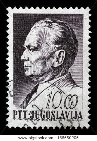 ZAGREB, CROATIA - JUNE 21: A stamp printed in Yugoslavia, is depicted Josip Broz Tito, circa 1968, on June 21, 2014, Zagreb, Croatia