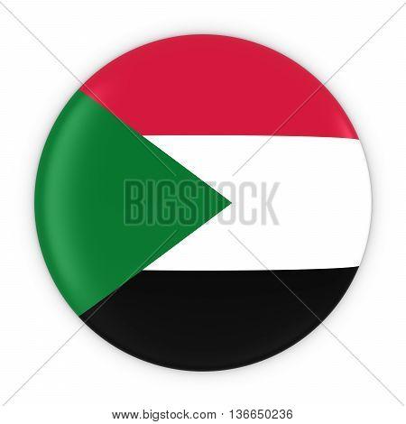 Sudanese Flag Button - Flag Of Sudan Badge 3D Illustration