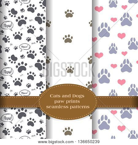 cats and dogs paw prints, background patterns vector set