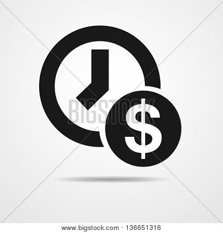 Time is money concept - flat icon. Office clock and Money - vector illustration. Business flat icon.