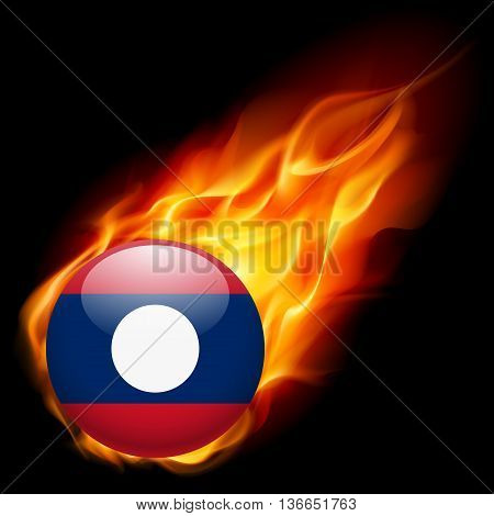 A round badge in the colours of Laos flag burning in flame