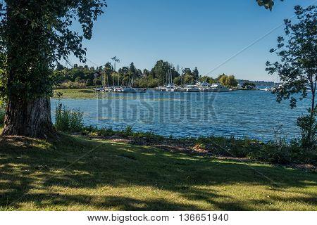 Boats are moored at a marina on Lake Washington near Seattle.