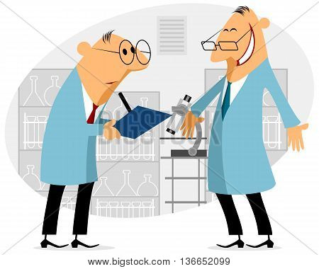 Vector illustration of a two scientist talking
