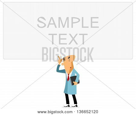 Vector illustration of a scientist with banner