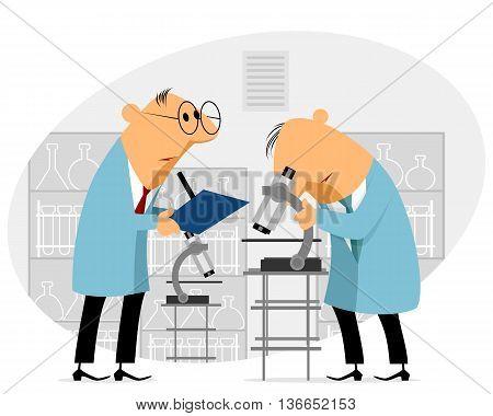 Vector illustration of a big scientific experiment