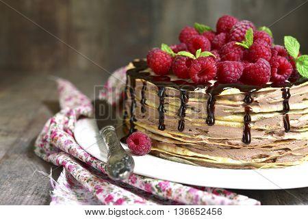 Pancake Chocolate Cake With Fresh Raspberry.