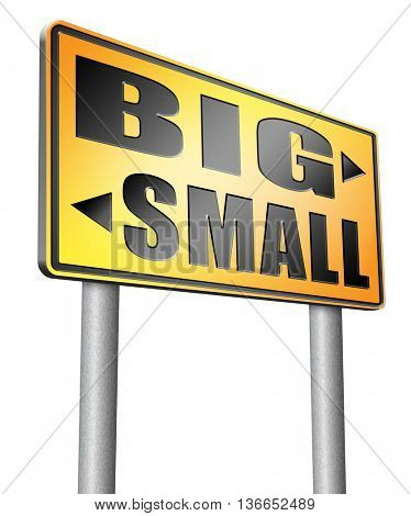 big small size matters no deal or issue, 3D illustration, isolated on white