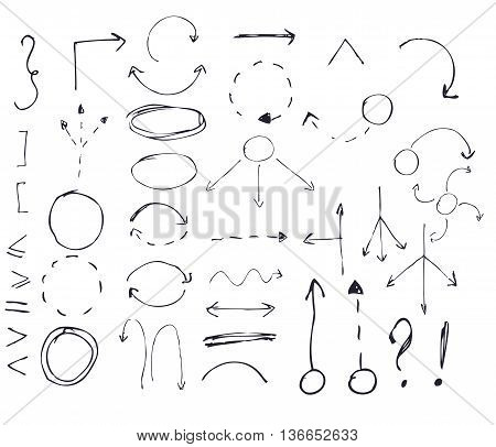 Isolated vector hand drawn arrows set on white background.
