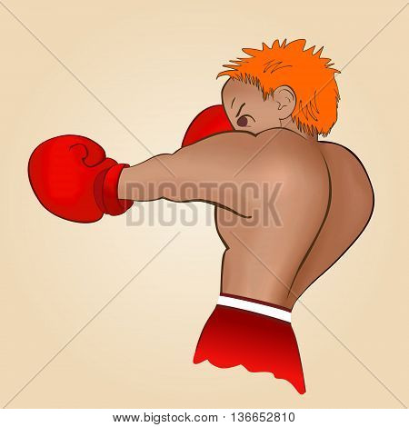 Young boxer trains on a light background.  Colored, isolated vector illustration for emblem, label, badge, flier, leaflet or etc. Square location.