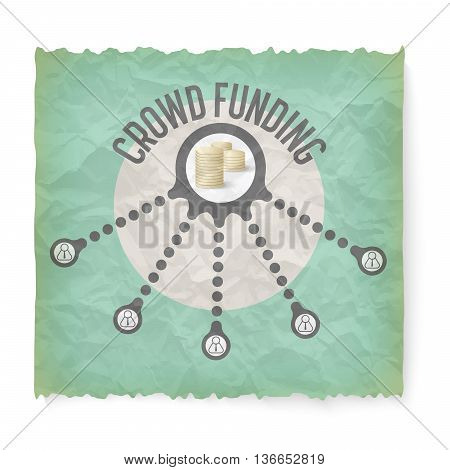 Crumpled paper with theme of crowd funding