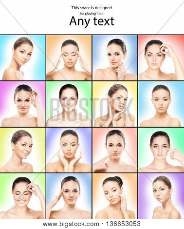 Set of photos with portraits of beautiful girls with pure and smooth skin over colorful background with copy space.