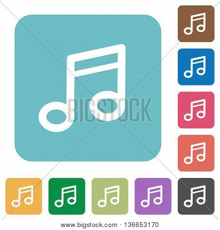 Flat music note icons on rounded square color backgrounds.