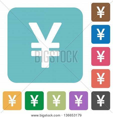 Flat yen sign icons on rounded square color backgrounds.
