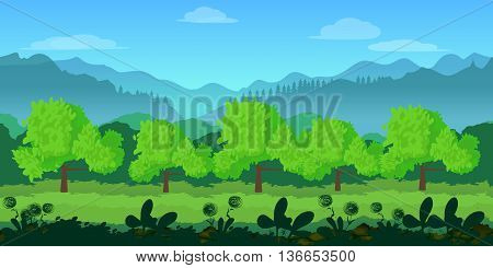 Game background .Cute cartoon seamless landscape with separated layers, summer day illustration