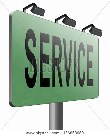 service sign online help and support client or customer service, 3D illustration, isolated on white