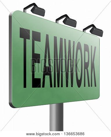 teamwork button concept, team work and cooperation in partnership working together business partners, 3D illustration, isolated on white