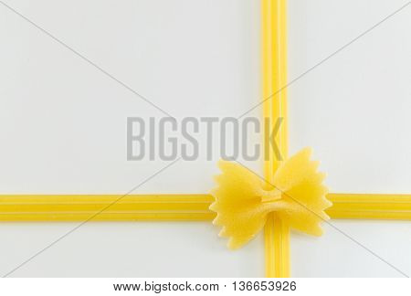 Spaghetti Forming Shapes On A White Background