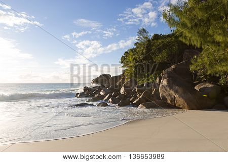 Beach Of Anse Georgette, Seychelles In Evening Light