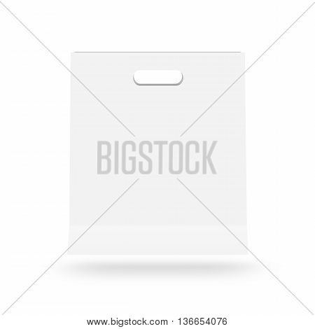 Blank paper bag mock up isolated. White clear magazine packet mockup ready for logo design presentation 3d illustration. Bundle supermarket template. Empty shopping carrier bag concept. Clean pack store layout.