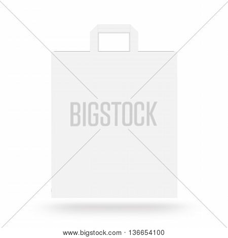 Blank paper bag mock up isolated 3d illustration. White clear magazine packet mockup ready for logo design presentation. Bundle supermarket template. Empty shopping carrier bag concept. Clean pack store layout.