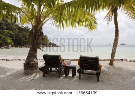 Deckchairs At Tropical Landscape View, Seychelles